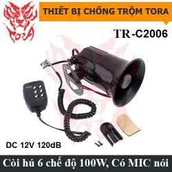 Còi hú báo động 6 âm TORA TR-C2006 12V có mic nói, công suất lớn